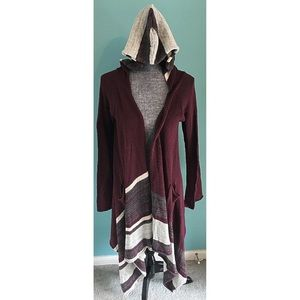 Elan Long Hooded Cardigan Sweater Maroon S/M